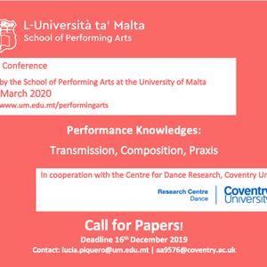 CfP: Performance Knowledges: Transmission, Composition, Praxis